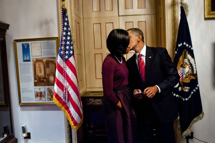 President Barack Obama Kisses First Lady Michelle Obama after his First State of the Union  (Official White House Photo)