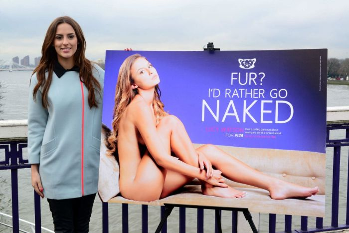 Lucy Watson pictured beside her Peta Advert