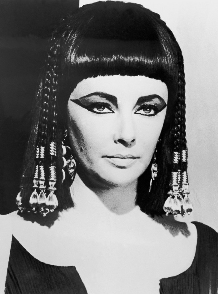 Elizabeth Taylor as Cleopatra in a film