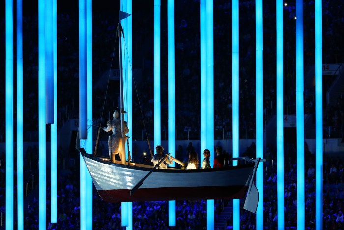 SOCHI, RUSSIA - FEBRUARY 23: A rowing boat moves across the arena during the 2014 Sochi Winter Olympics Closing Ceremony at Fisht Olympic Stadium on February 23, 2014 in Sochi, Russia. (Photo by Doug Pensinger/Getty Images)