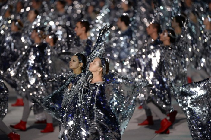 Dancers perform during the Closing Ceremony of the Sochi Winter Olympics at the Fisht Olympic Stadium on February 23, 2014. AFP PHOTO / PETER PARKS (Photo credit should read PETER PARKS/AFP/Getty Images)