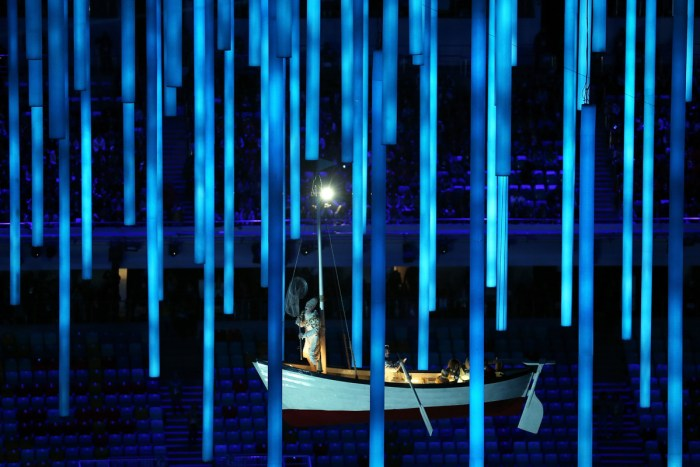 SOCHI, RUSSIA - FEBRUARY 23: A rowing boat moves across the arena during the 2014 Sochi Winter Olympics Closing Ceremony at Fisht Olympic Stadium on February 23, 2014 in Sochi, Russia. (Photo by Matthew Stockman/Getty Images)