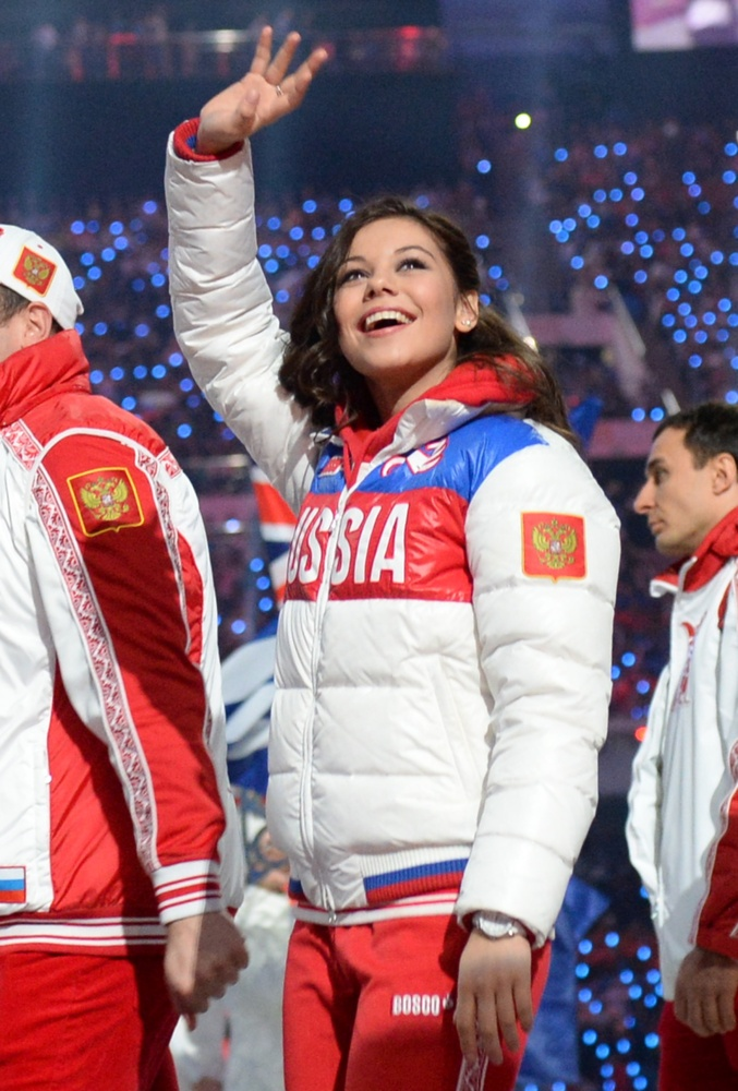 Russia's figure skater and bronze medalist Elena Ilinykh parades during the Closing Ceremony of the Sochi Winter Olympics at the Fisht Olympic Stadium on February 23, 2014. AFP PHOTO / DAMIEN MEYER (Photo credit should read DAMIEN MEYER/AFP/Getty Images)