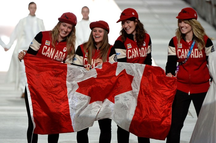 SOCHI, RUSSIA - FEBRUARY 23: Team Canada athletes enter during the 2014 Sochi Winter Olympics Closing Ceremony at Fisht Olympic Stadium on February 23, 2014 in Sochi, Russia. (Photo by Pascal Le Segretain/Getty Images)