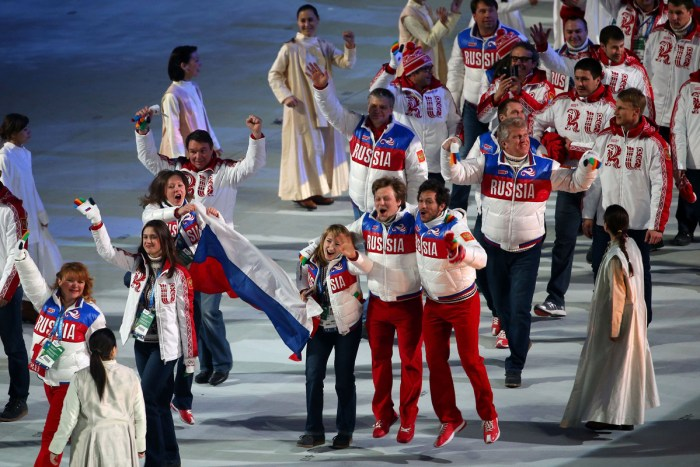 SOCHI, RUSSIA - FEBRUARY 23: Team Russia athletes enter during the 2014 Sochi Winter Olympics Closing Ceremony at Fisht Olympic Stadium on February 23, 2014 in Sochi, Russia. (Photo by Quinn Rooney/Getty Images)