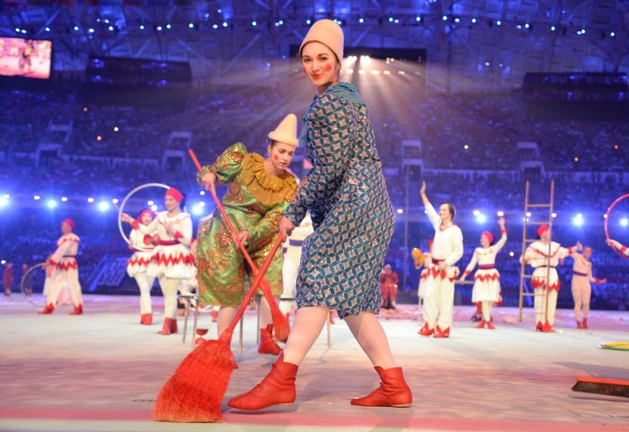 Circus performers take part in the Closing Ceremony of the Sochi Winter Olympics at the Fisht Olympic Stadium on February 23, 2014. AFP PHOTO / DAMIEN MEYER (Photo credit should read DAMIEN MEYER/AFP/Getty Images)