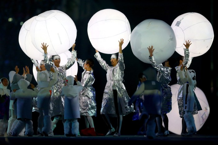 SOCHI, RUSSIA - FEBRUARY 23: South Korean performers dance during the Pyeongchang 2018 presentation during the 2014 Sochi Winter Olympics Closing Ceremony at Fisht Olympic Stadium on February 23, 2014 in Sochi, Russia. (Photo by Paul Gilham/Getty Images)