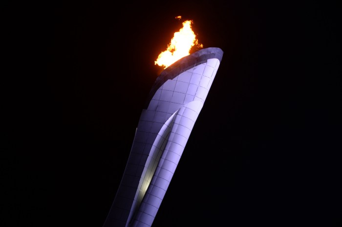 The Olympic flame claudron is pictured just before being extinguished at the end of the Closing Ceremony of the Sochi Winter Olympics outside the Fisht Olympic Stadium on February 23, 2014. AFP PHOTO / YURI KADOBNOV (Photo credit should read YURI KADOBNOV/AFP/Getty Images)