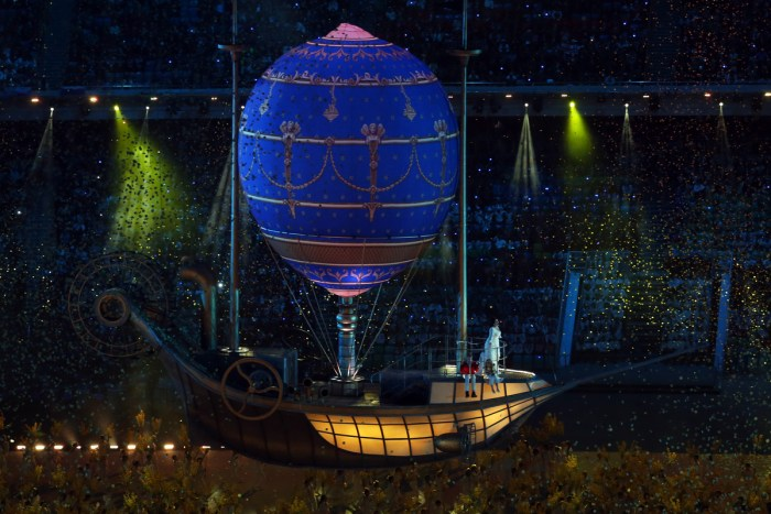 SOCHI, RUSSIA - FEBRUARY 23: A balloon travel across the arena during the 2014 Sochi Winter Olympics Closing Ceremony at Fisht Olympic Stadium on February 23, 2014 in Sochi, Russia. (Photo by Matthew Stockman/Getty Images)