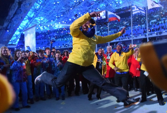 Brazil's bobsleigh athlete Sally Mayara da Silva dances after the Closing Ceremony of the Sochi Winter Olympics at the Fisht Olympic Stadium on February 23, 2014. AFP PHOTO / DAMIEN MEYER (Photo credit should read DAMIEN MEYER/AFP/Getty Images)
