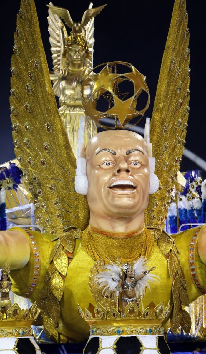 The Gavioes da Fiel samba school was set up by fans of Corinthians, the club where Ronaldo finished his career (Photo Credit: Daily Mirror)