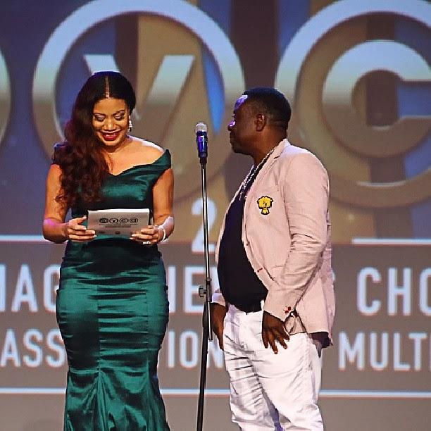 Nollywood stars, Monalisa Chinda and John Okafor presenting an award at the AMVCA