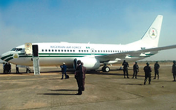 Presidential jet in Minna on Saturday, March 8, 2014   Photo: Punch