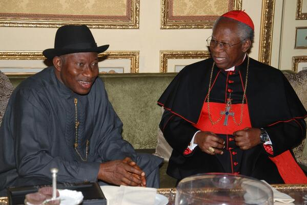 resident Jonathan with Cardinal Francis Arinze in Rome | Photo: Reuben Abati