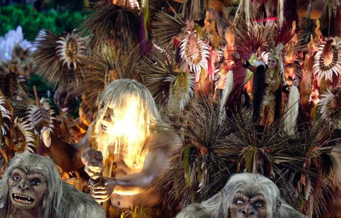 Revelers from the Beija Flor samba school, in Rio de Janeiro's Sambadrome, on February 11, 2013. (Reuters/Ricardo Moraes)