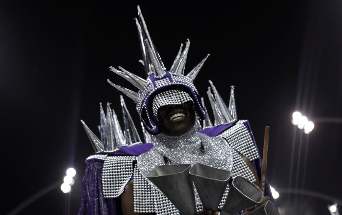 A reveler from the Mocidade Alegre Samba School takes part in a carnival at Anhembi Sambadrome, in Sao Paulo, Brazil, on February 10, 2013. (Reuters/Nacho Doce)
