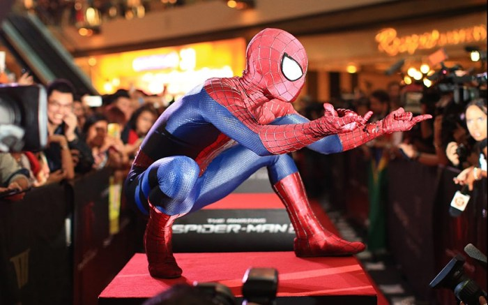 Spider-Man wows fans at the Singapore Fan Event in Marina Bay Sands (Photo Credit: CHRISTOPHER POLK/GETTY IMAGES)