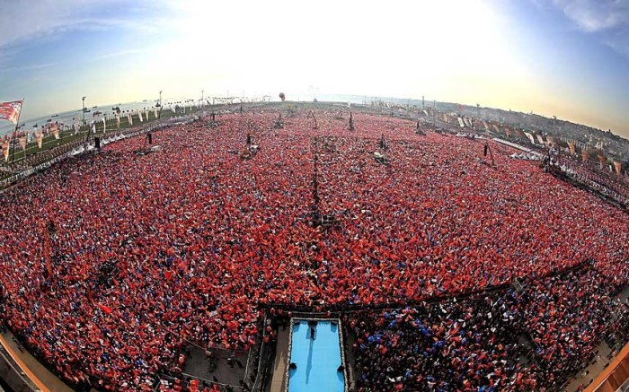 A picture provided by the Turkish Prime Minister's press office shows thousands of supporters of Turkey's ruling Justice and Development Party (AKP) cheering Turkish Prime Minister Recep Tayyip Erdogan during an election campaign rally in Istanbul, Turkey (Photo Credit:  KAYHAN OZER/PRIME MINISTER PRESS OFFICE/EPA)