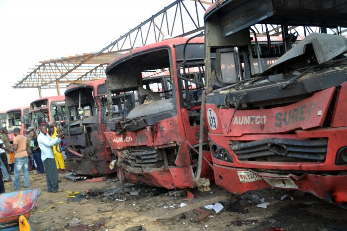 These buses were destroyed by a bomb on the outskirts of Abuja, Nigeria, on Monday, April 14, 2014. (Photo Credit: AFP, Getty Images)