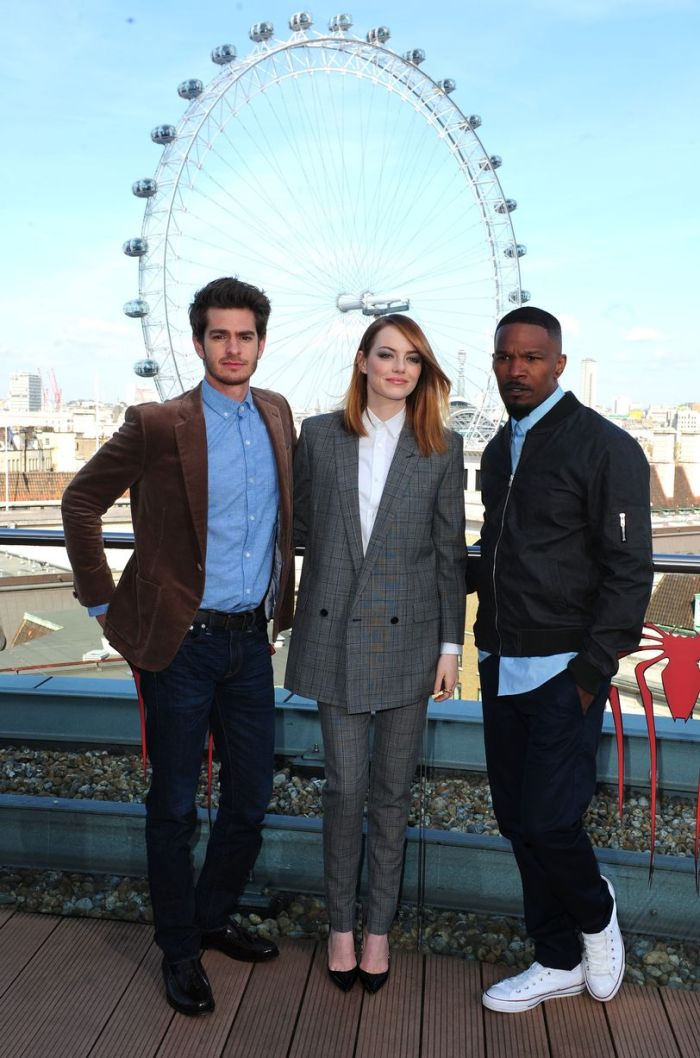 Andrew Garfield, Emma Stone and Jamie Foxx attending a photocall for new film The Amazing Spiderman at the Westminster Plaza Hotel, London