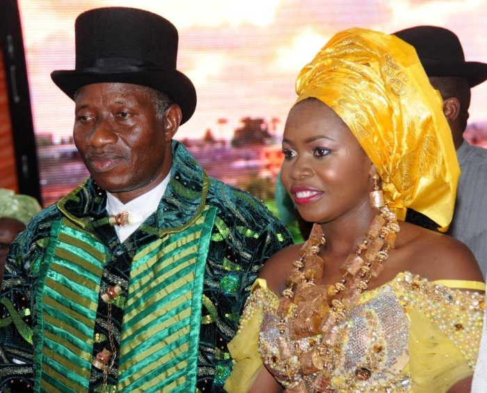 President Goodluck Jonathan and daughter, Faith Sakwe at her traditional marriage in April 2014