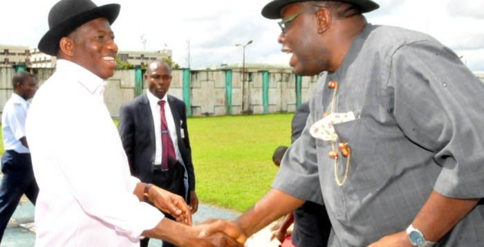 President Jonathan received by Bayelsa's Governor Dickson