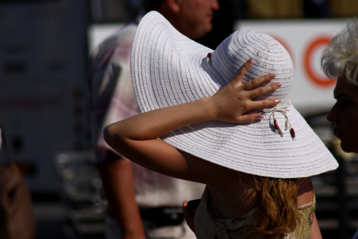 The girl holds the hand wide-brimmed hat