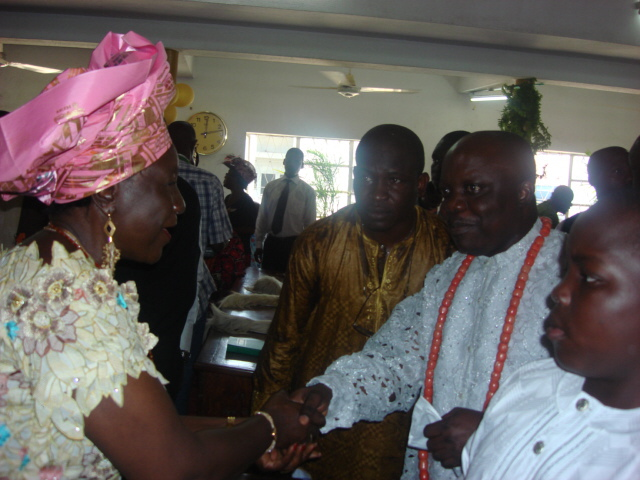Minister For Science and Technology, Chief (Mrs.) Grace Ekpiwhre greeting Governor  Emmanuel Uduaghan (Right) in 2008