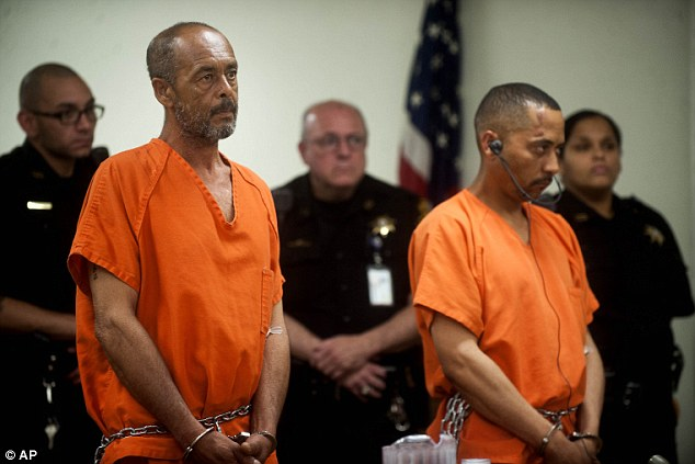 Ramon Ortiz, left, 57, of Pennsauken, and Carlos Alicea-Antonetti, 36, are arraigned on murder charges in the slaying of Camden resident Fatima Perez (Photo Credit: AP)