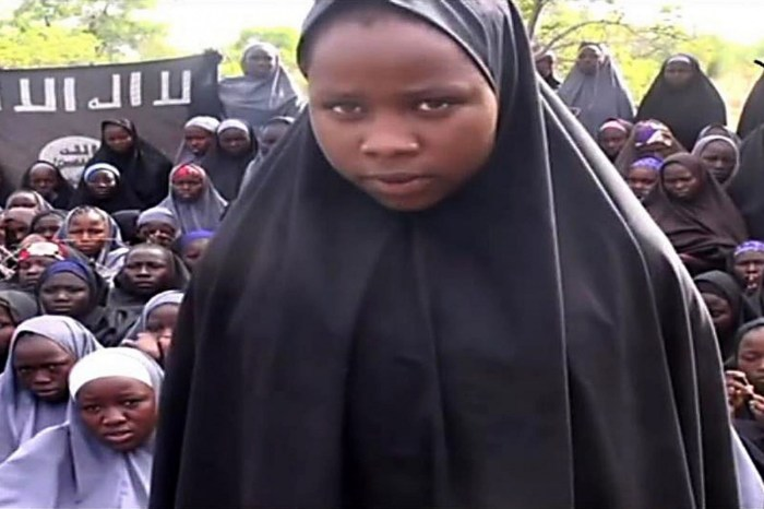 Screenshot of video released by Boko Haram showing some of the abducted Chibok schoolgirls