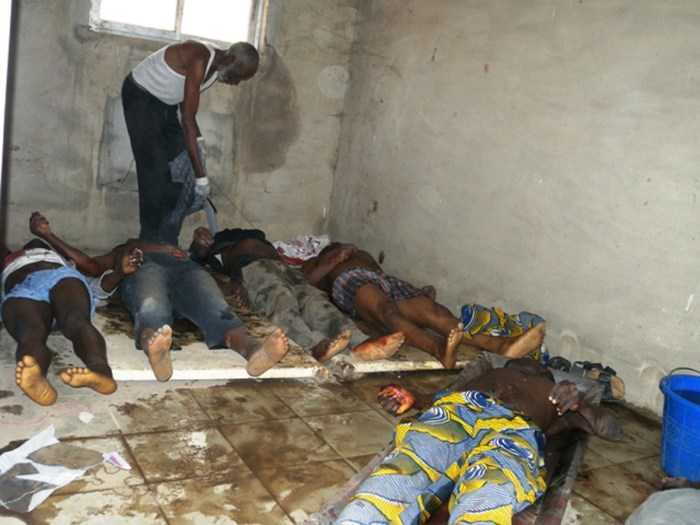 Bodies of people alleged to have been killed in a Friday attack on a town hall meeting of the Christian Igbo ethnic group lie on the floor in a hospital morgue in Mubi, in the Adamawa state of northern Nigeria, Saturday, Jan. 7, 2012. The town hall attack, which left at least 20 dead, is one of a string of deadly attacks claimed by radical Muslim sect Boko Haram. (Photo Credit: AP)