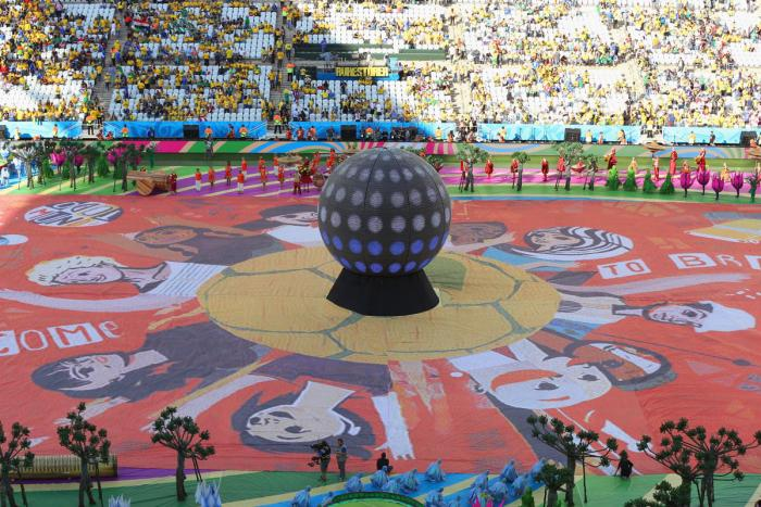 The Happiness Flag is seen as artists perform during the Opening Ceremony