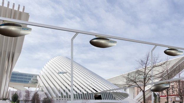 skyTran in a cityscape The skyTran system could help ease gridlocked roads