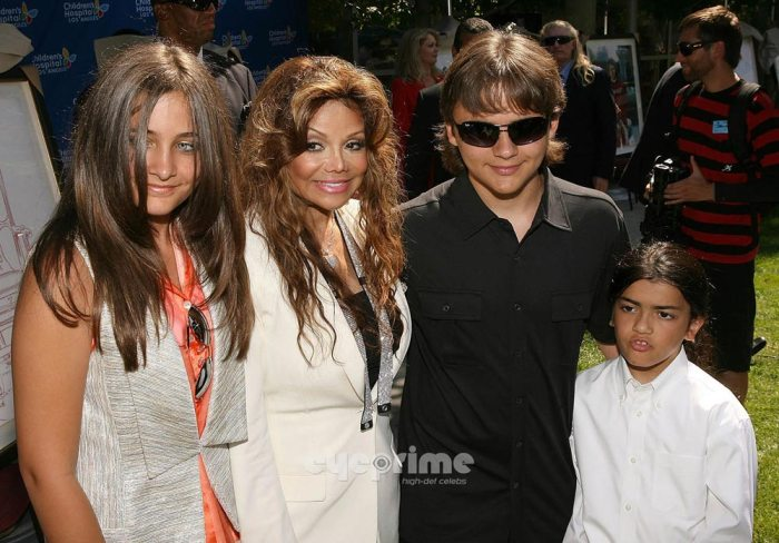 From Left: Paris Jackson, Latoya Jackson, Prince Jackson, and Blanket Jackson at the unveiling of the artwork from Michael on the 8th of August, 2011