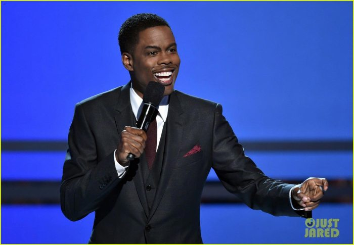 Chris Rock hits the stage for his hilarious opening monologue at the 2014 BET Awards held at the Nokia Theatre L.A. Live on Sunday (June 29) in Los Angeles. (Photo Credit: Getty Images)