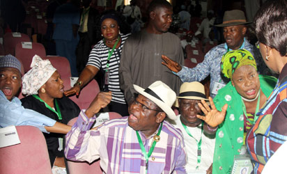 UPROAR OVER Revenue formula: Delegates to the National Conference argue during debate on revenue sharing formula as the conference degenerated into a rowdy session.