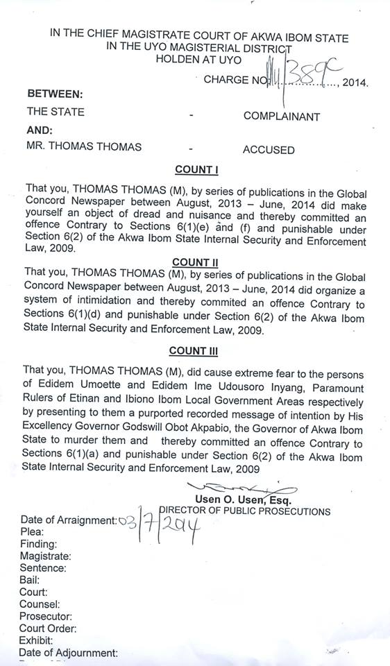 Suit between Akwa Ibom State Government and Thomas Thomas.