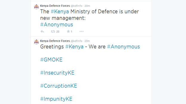 A picture of tweets by anonymous group that hacked Kenyas Defence account. [Photo Credit: BBC]