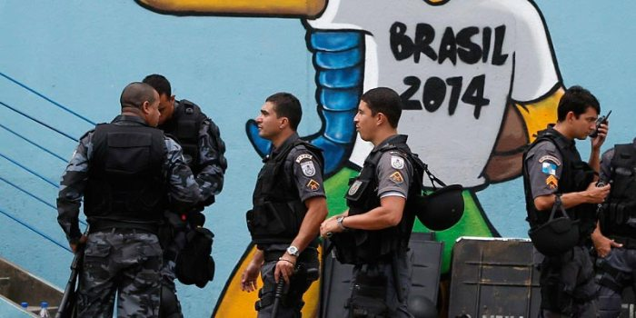 Security teams and military troops flock to Brazil to control protests and fans during the 2014 FIFA World Cup. Source: Huffington Post