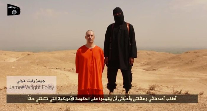 A screen grab from a video posted to YouTube by ISIS that claims to show journalist James Foley, who was abducted in 2012 while covering the Syria civil war, being beheaded.