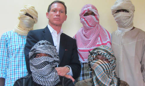 Australian negotiator Dr. Stephen Davis pictured with alleged Boko Haram commanders in 2013 (Photo Credit: News Rescue)