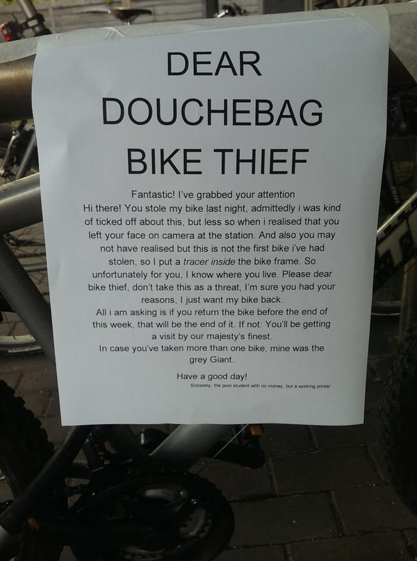Letter to The Bike Thief