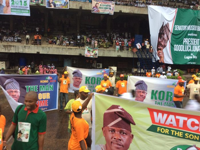 Supporters of Senator Obanikoro at the Peoples' Democratic Party's rally in Lagos, September 20, 2014 (Photo Credit: Obanikoro 2015 Campaign Office)
