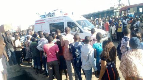 An ambulance at the scene of the incident (Photo Credit: Ramon Oladimeji)