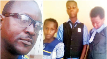 The father, Mr Segun Adepegba and his three children who he abandoned (Photo Credit: Punch)