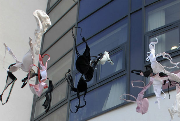 "Some women Hanged their bras and went about bare-breasted on October 13, 2014 in commemoration of the ""No Bra Day"""