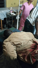 Honourable Momoh of Edo State currently at the Accident and Emergency Ward of the University Of Benin Teaching Hospital (UBTH) where he is receiving treatment after an attack on Tuesday, October 7, 2014( Photo Credit:PM News)