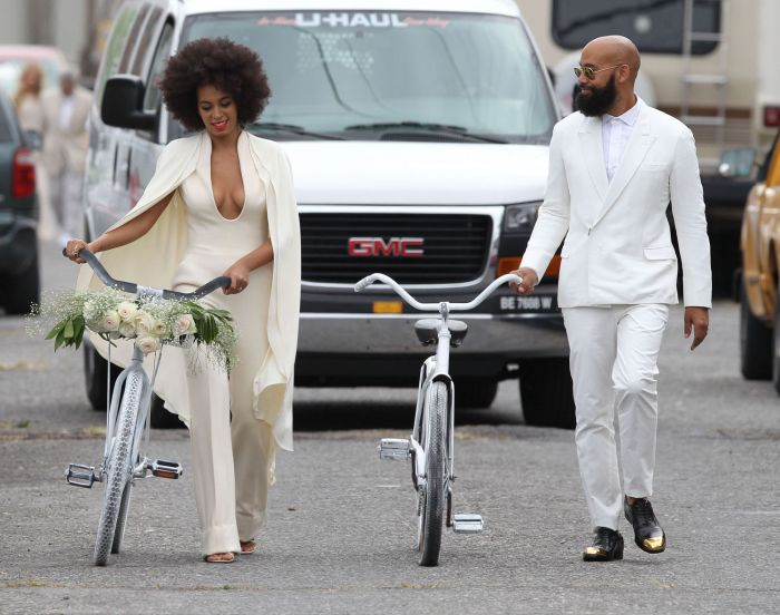 "November 16, 2014: Bride-to-be Solange Knowles and her fiance Alan Ferguson pose on a French Quarter balcony just before they say ""I do"" in New Orleans, Louisiana.(Photo Credit: INFphoto.com)"