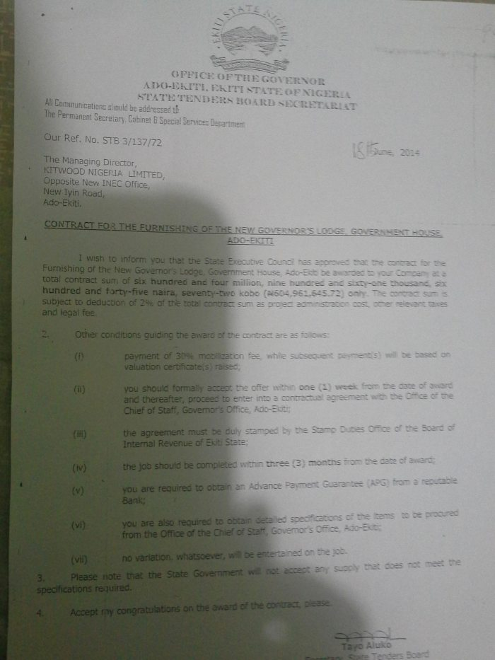 The N605 million furnishing contract letter issued by Governor Fayemi