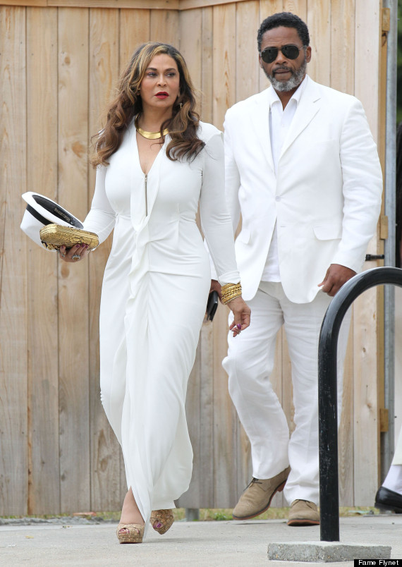 Tina Knowles with an unidentified guest at the November 16 wedding of singer daughter, Solange Knowles to Alan Ferguson (Photo Credit: FameFlynet)